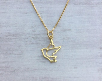 Gold Swallow Necklace/Gold Bird/Gold Swallow/Open Swallow/Vermeil/Gold Filled/Everyday Wear/Long & Layered/Gift/UK/Jewellery