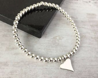 Sterling Silver Heart Bracelet/Silver Heart/Silver Bead/Love/Everyday/Valentines/Gift/Silver Bead Bracelet/Sterling Silver/Bridal/uk/charm