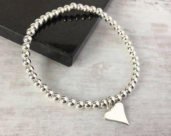 Sterling Silver Shiny Heart Bead Bracelet/Silver Heart/Silver Bead/Love/Everyday/Valentines/Gift/Bracelet/Sterling Silver/Bridal