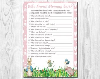 Peter Rabbit Baby Shower Trivia Game, Who Knows Mommy Best, Printable Download, Beatrix Potter Baby Girl  Shower Game, Rustic Game QU011