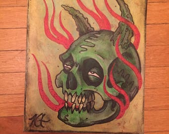 """Neotraditional Tattoo Art Skull Horns Flames Painting by Kevin Thrun - 8""""x10"""""""