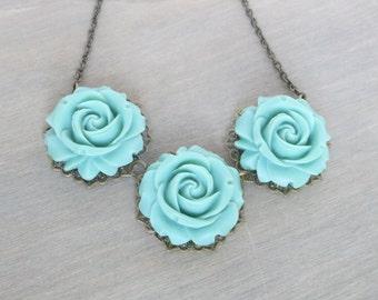 Blue Rose Necklace - Vintage Inspired, Aqua Necklace, Resin Rose Necklace, Bronze Necklace, Everyday Jewelry, Flower Necklace, Bib Necklace
