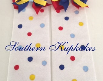 RED BLUE YELLOW Polka Dots Legwarmers Leg Warmers Arm Warmers With Bows Pageant Boutique M2M Match Snow White Inspired Dress Girls