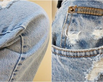 Vintage 90's Perfectly Faded and Distressed Calvin Klein Jeans Women's High Waisted  Size 12