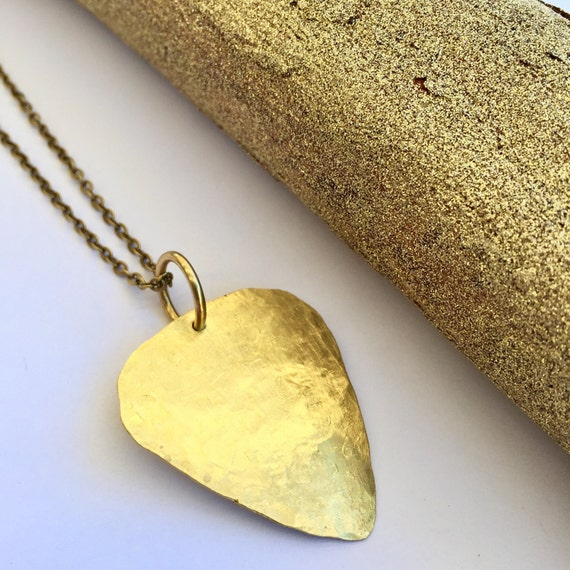 Guitar pick jewelry feathers brass guitar pick necklace musician necklace handmade brass aloadofball Image collections