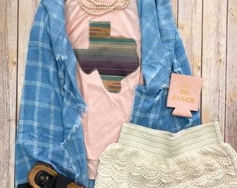 Texas Serape Fiesta adult vneck tee - Sweet Texas Treasures - girly desert colorful bright summer tshirt, serape honey mexican blanket