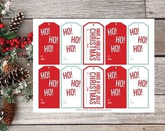 DIGITAL Christmas Gift Tags Red & Green Ho Ho Ho Gift Tags Have a Holly Jolly Christmas Tags Printable Christmas Gift Tags Present Tags