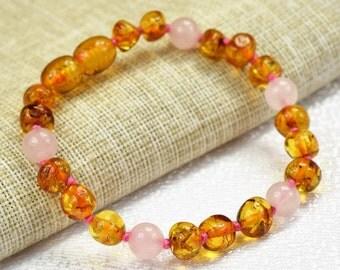 Baby Teething Bracelet/ Baltic amber/ Amber teething bracelet/ Adult amber anklet/ Children and Adults Bracelet and anklet. 5.1 - 7.1 inch.