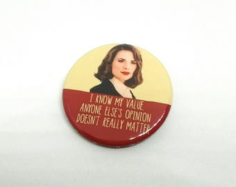 Agent Peggy Carter - I know my value  -  Badge - Badges/Fridge Magnets - Quotes - Agent Carter