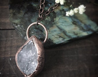 HERKIMER DIAMOND - copper electroformed - rustic witch necklace