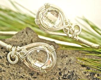 New York Herkimer Diamond Wire Wrapped Bracelet -Adjustable Sterling Silver Cuff Bracelet - Herkimer Diamond Jewelry - A GRADE Herkimers