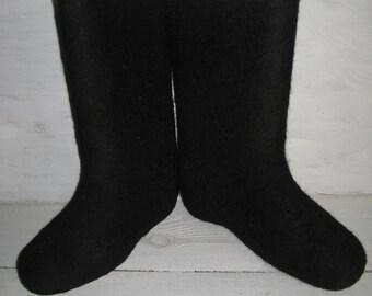 Vintage felted boots/ Russian VALENKI/ wool boots/ shoes/black felted boots/winter boots/Shoe size us 6.