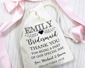 Wedding favour gift bag. Bridesmaid thank you cotton bag, personalised. Wedding day