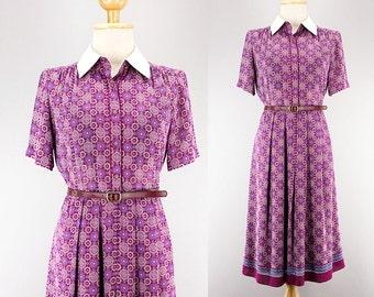 70s Japanese Purple Mandala Print Sheer Dress/ White Collared Shirt Dress/ Button Down Shirt Dress/ Secretary Work Summer Pleated Dress/ S