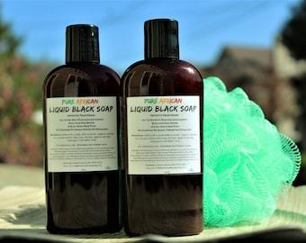 Two (2) Liquid Black Soap 4oz, African Black Soap, Ghana Soap, Natural Body Wash, Natural Shampoo, African Soap, Natural Skincare, Vegan