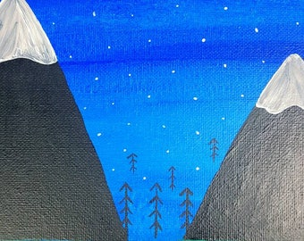 Mountain Top Evening | Acrylic canvas painting