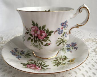 reserved Paragon China Tea Cup and Saucer, English Flowers, Colourful Floral with Gold Trim