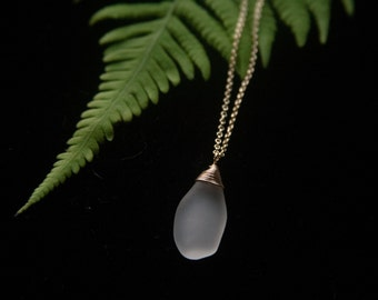 Hawaiian Sea Glass Necklace (Manini White)