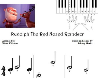 Rudolph the Red Nosed Reindeer - Beginner Piano Sheet Music