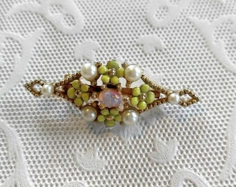 Beautiful Brooch/Pin-Real Opal with Enameled Flowers and Faux Pearls-Gold, Yellow-Vintage-.99c Shipping on All Orders