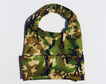 Camouflage Bib, Infant Bib, Toddler Bib, Water Resistant Bib, Mess Bib, Smash Cake Bib, Full Coverage Bib