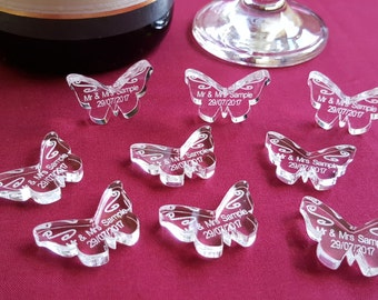 Personalised Butterfly Wedding Table Decorations - Mr & Mrs Scatter Favours, Married Titles and Date, Acrylic Personalized Favors, Confetti