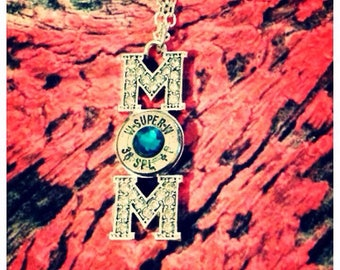 YOU CHOOSE caliber and color! Mom bullet necklace!