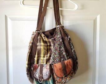 boho hobo patchwork fabric print design bag / purse
