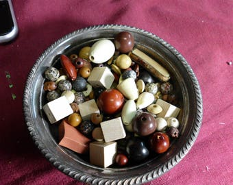 7 Ounces Assorted Beads Browns Neutrals Wood Plastic Shell Stone Many Shapes Sizes Styles Vintage and Modern