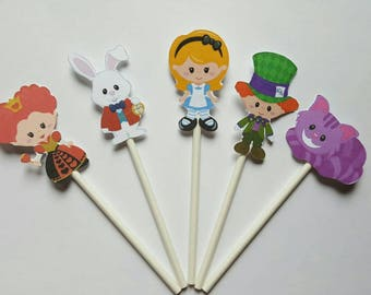 Alice in Wonderland cupcake toppers - set of 12, cake toppers, Alice centerpiece, tea party