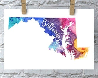 Custom Maryland Map Art, Maryland Watercolor Heart Map Home Decor, Baltimore or Your City Hand Lettering, Personalized Gift, Print, 5 Colors