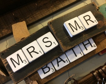 "Rustic ""MR"" ""MRS"" Scrabble Sign"