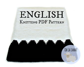 Easy KNITTING PATTERN Baby Blanket with scalloped edge, Easy Baby Blanket knitting pattern, beginner knitting blanket, Instant download