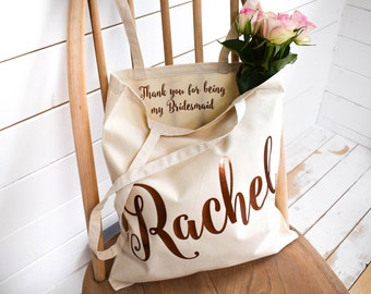 Wedding Thank you Gift - Personalised Bridesmaid Gift Tote Bag - Maid of Honour Gift - Unique Gift for Bridal Party, Personalized Tote Bags
