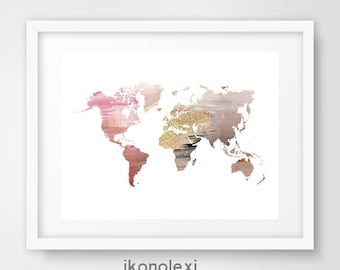 pink world map etsy. Black Bedroom Furniture Sets. Home Design Ideas