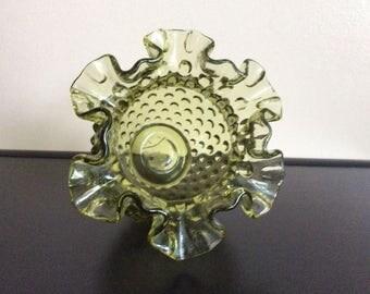 Vintage Fenton Colonial Green Hobnail ruffled Vase