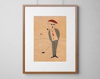 The Golfer | Wood Wall Art | Mahogany Wood |  A3 or 12 x 16 Inch | Free Shipping Worldwide