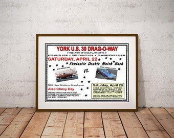York US 30 Drag-O-Way Match Race 1967 Poster!