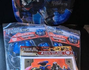 Transformers Revenge Of The Fallen  Birthday Party Pack 8 Dinner Plates 8 Masks 8 Gift Bags  Dream Works 2007  Movie Hasbro