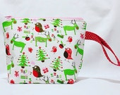 2 Skein Size Sturdy Christmas Red Nose Reindeer on Pink Zip Project Bag with Red White Polka Dot Handle for Knitting & Crafts