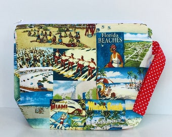 Miami Florida Beaches 2 Skein Size STURDY White Zip Project Bag with Red & White Polka Dot Handle for Knitting / Craft Travel