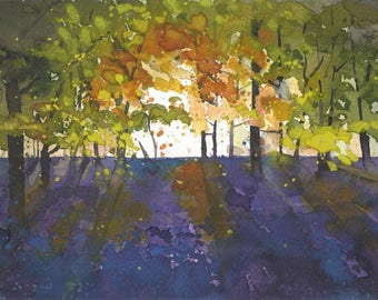 Bluebells I | original painting | gouache | watercolour | flower painting | flowers | bluebell | spring | purple | sunset | Tracy Butler