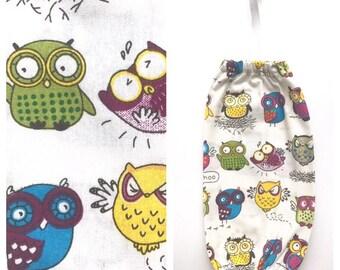 Mini/ Small Plastic Bag Holder/ Grocery Bag Holder/ Bag Dispenser - Owls