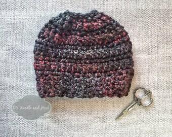 Chunky Crochet Ponytail Hat Pattern, Easy Messy Bun Hat, Easy Ponytail Beanie Pattern, Crochet Beanie, Crochet Hat Pattern, Instant Download