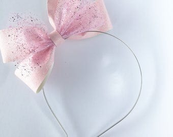 Light pink glitter bow, tulle bow hard metal headband with rubber tips