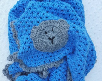 Crochet Blanket, blue Crochet Blanket,knitted blanket, A H Baby Boutique, Baby Shower Gift, Knit, Pram Blanket, Bassinet Blanket