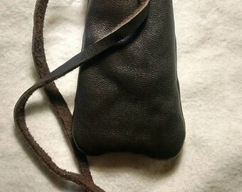 Native American Style Medicine Pouch, Dark Brown Leather