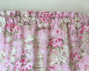 Pink teacup window valance