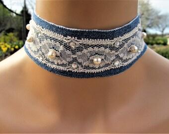 Ivory,White,Silver,Wedding,Wedding Choker,Victorian,Victorian Choker,Country,Country Choker,Choker,Ivory Lace,Beads,Rhinestones