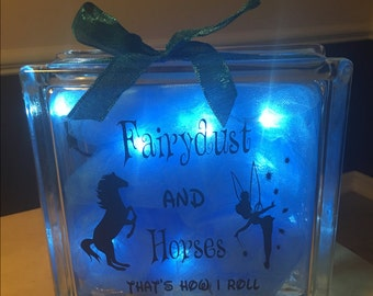 Glass Block- Tinkerbell and Horses